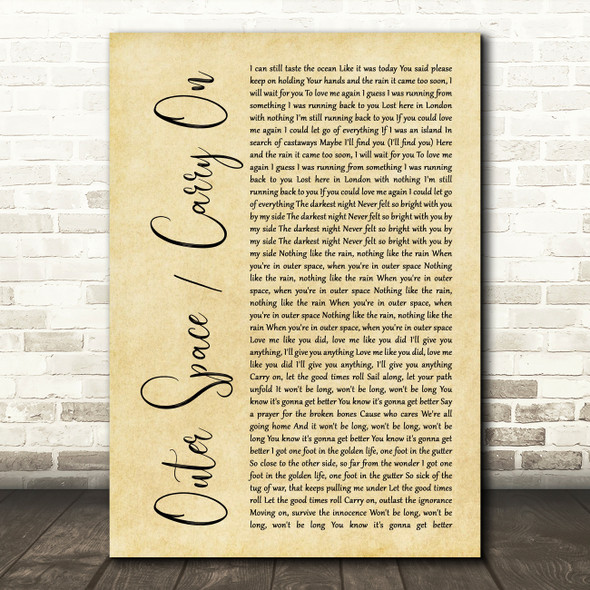 5 Seconds of Summer Outer Space Carry On Rustic Script Song Lyric Print