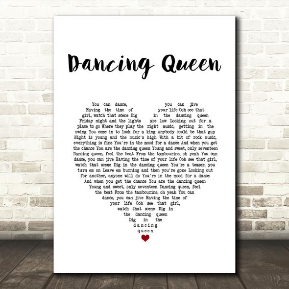 Abba Dancing Queen White Heart Song Lyric Print