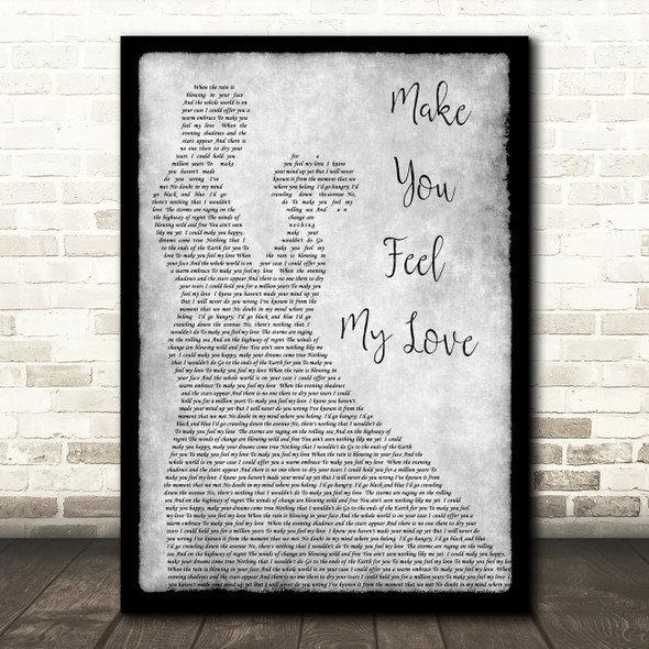Adele Make You Feel My Love Grey Song Lyric Man Lady Dancing Quote Print