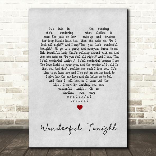 Wonderful Tonight Eric Clapton Grey Heart Song Lyric Quote Print