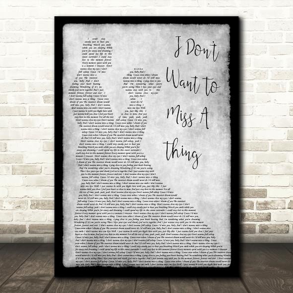 Aerosmith I Don't Want To Miss A Thing Grey Song Lyric Man Lady Dancing Print