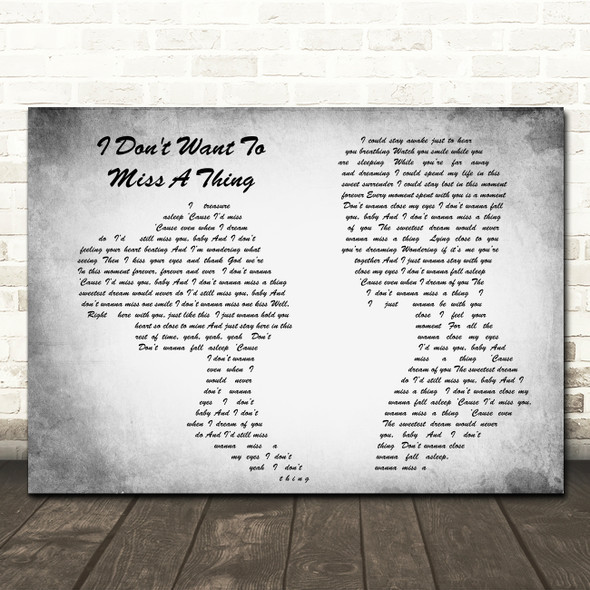 Aerosmith I Don't Want To Miss A Thing Man Lady Couple Grey Song Lyric Print