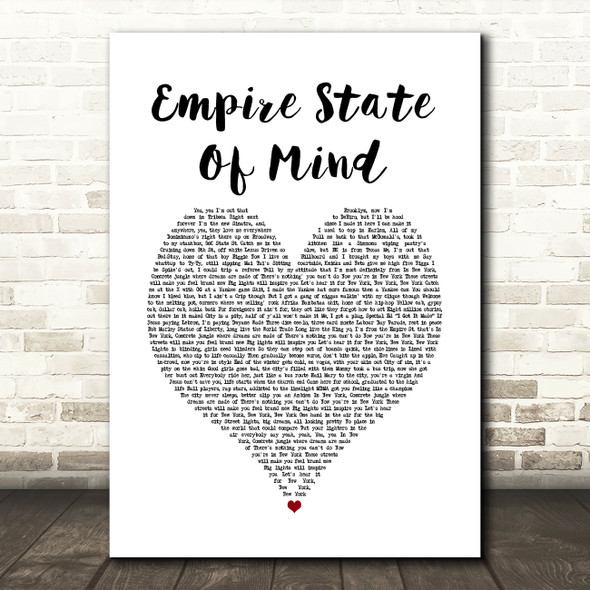 Alicia Keys Empire State Of Mind White Heart Song Lyric Print