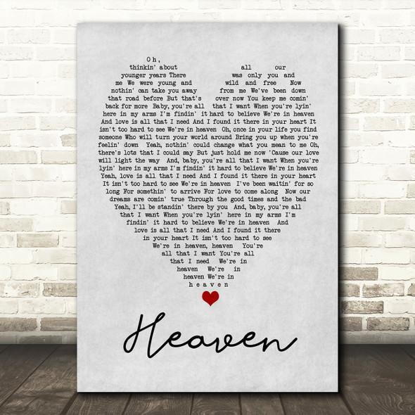 Heaven Bryan Adams Grey Heart Song Lyric Quote Print