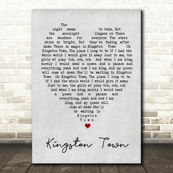 Kingston Town UB40 Grey Heart Song Lyric Quote Print