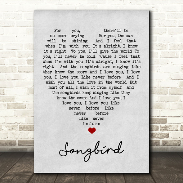 Songbird Fleetwood Mac Grey Heart Song Lyric Quote Print