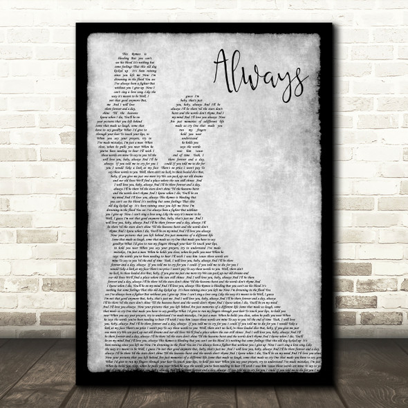 Bon Jovi Always Grey Song Lyric Man Lady Dancing Quote Print