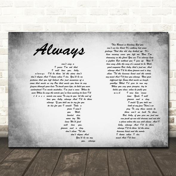 Bon Jovi Always Man Lady Couple Grey Song Lyric Quote Print