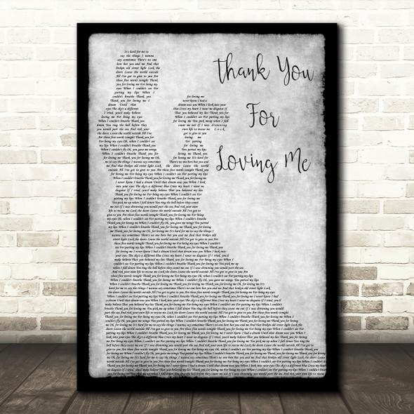 Bon Jovi Thank You For Loving Me Man Lady Dancing Grey Song Lyric Quote Print