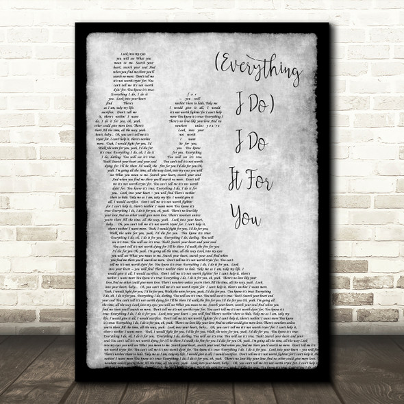 Bryan Adams Everything I Do I Do It For You Grey Song Man Lady Dancing Print