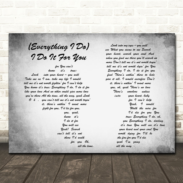 Bryan Adams Everything I Do I Do It For You Man Lady Couple Grey Song Print
