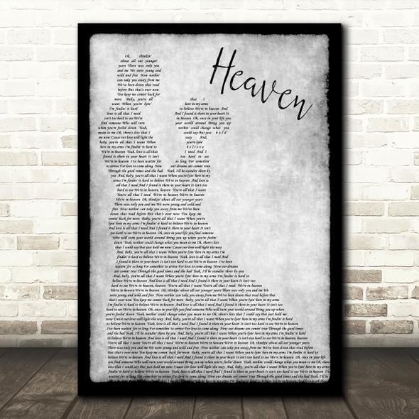 Bryan Adams Heaven Grey Song Lyric Man Lady Dancing Quote Print