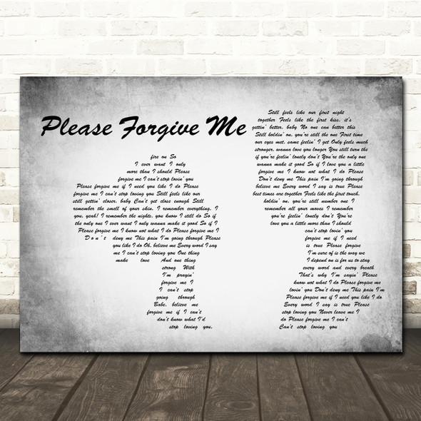 Bryan Adams Please Forgive Me Man Lady Couple Grey Song Lyric Print