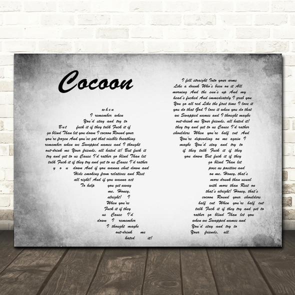 Catfish And The Bottlemen Cocoon Man Lady Couple Grey Song Lyric Print