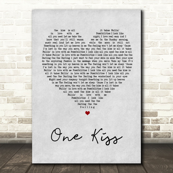 Calvin Harris & Dua Lipa One Kiss Grey Heart Song Lyric Quote Print