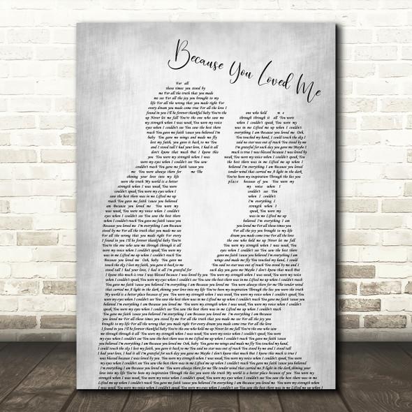 Celine Dione Because You Loved Me Man Lady Bride Groom Wedding Grey Song Print