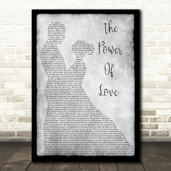Celine Dione The Power Of Love Man Lady Dancing Grey Song Lyric Quote Print