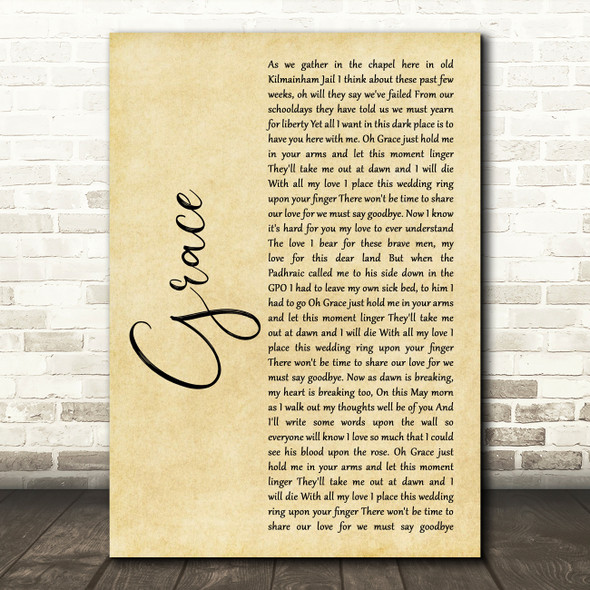 Charlie and the bhoys Grace Rustic Script Song Lyric Print