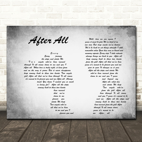 Cher After All Man Lady Couple Grey Song Lyric Quote Print