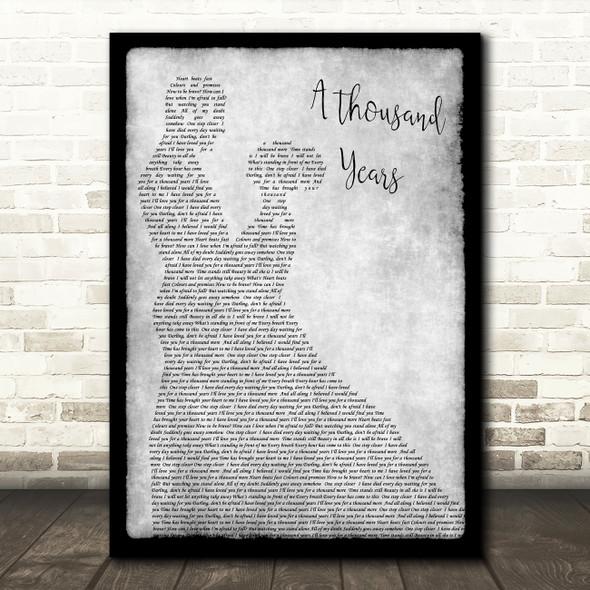 Christina Perri A Thousand Years Grey Song Lyric Man Lady Dancing Quote Print