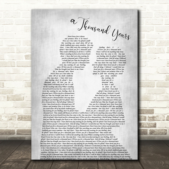 Christina Perri A Thousand Years Grey Song Man Lady Bride Groom Wedding Print