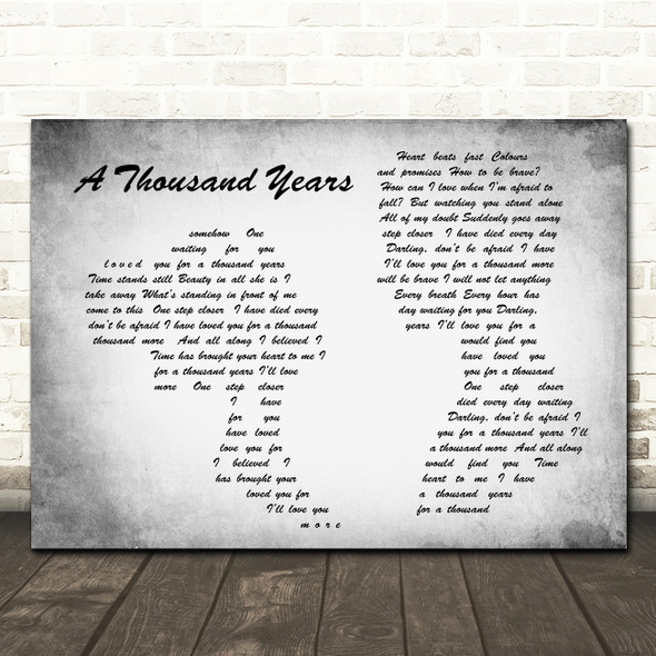 Christina Perri A Thousand Years Man Lady Couple Grey Song Lyric Quote Print