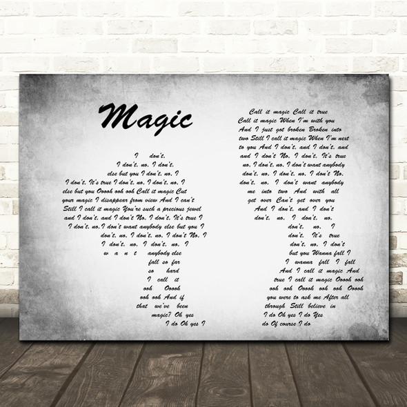 Coldplay Magic Man Lady Couple Grey Song Lyric Quote Print