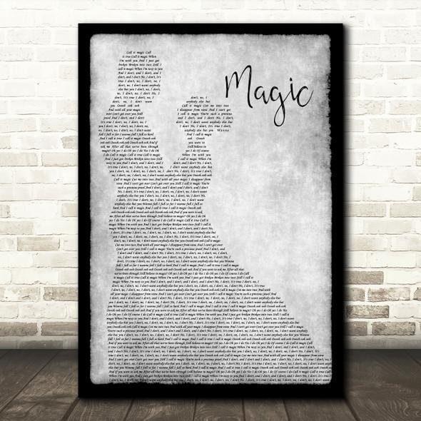 Coldplay Magic Man Lady Dancing Grey Song Lyric Quote Print