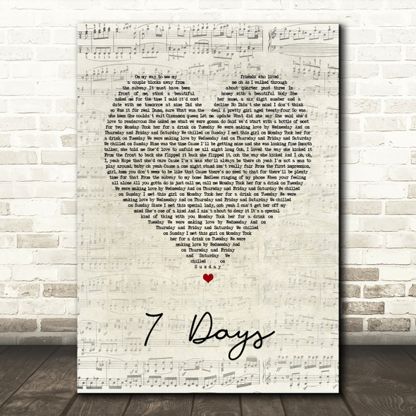 Craig David 7 Days Script Heart Song Lyric Print
