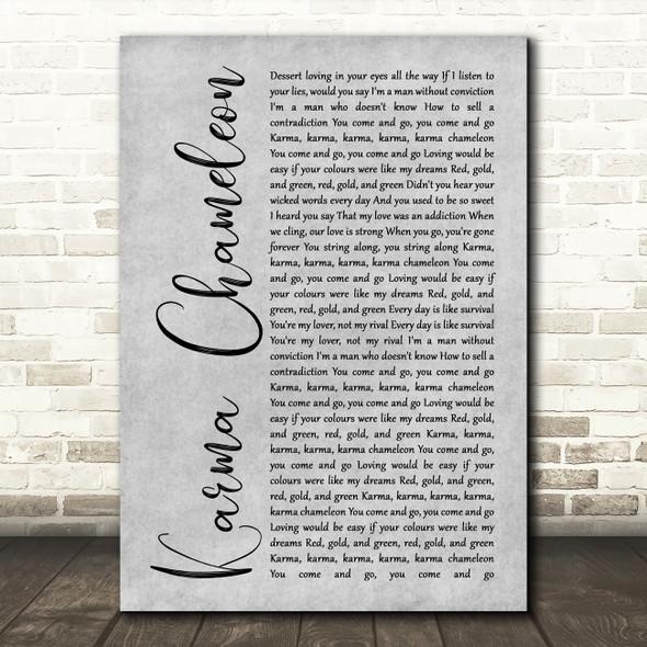 Culture Club Karma Chameleon Grey Rustic Script Song Lyric Print