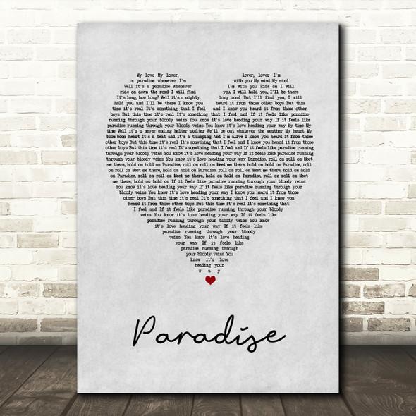George Ezra Paradise Grey Heart Song Lyric Quote Print