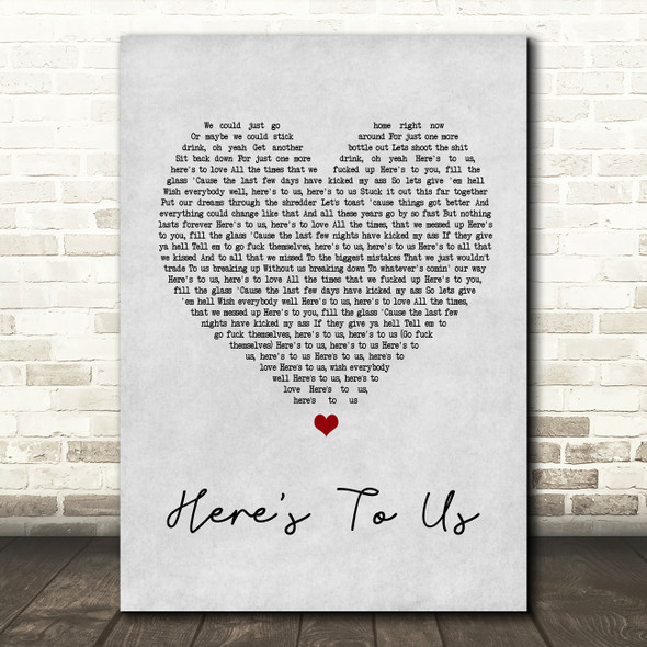 Halestorm Here's To Us Grey Heart Song Lyric Quote Print