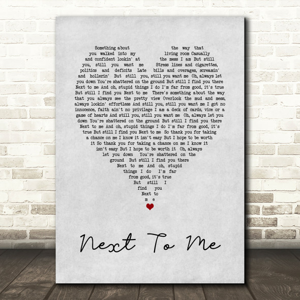 Imagine Dragons Next To me Grey Heart Song Lyric Quote Print