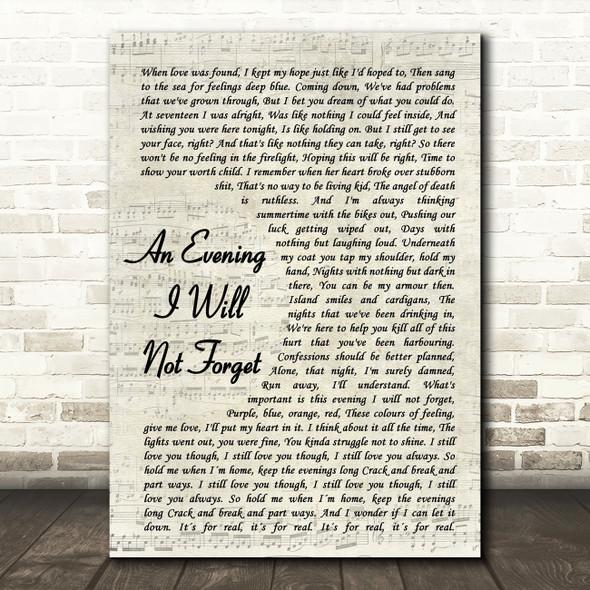 Dermot Kennedy An Evening I Will Not Forget Vintage Script Song Lyric Print