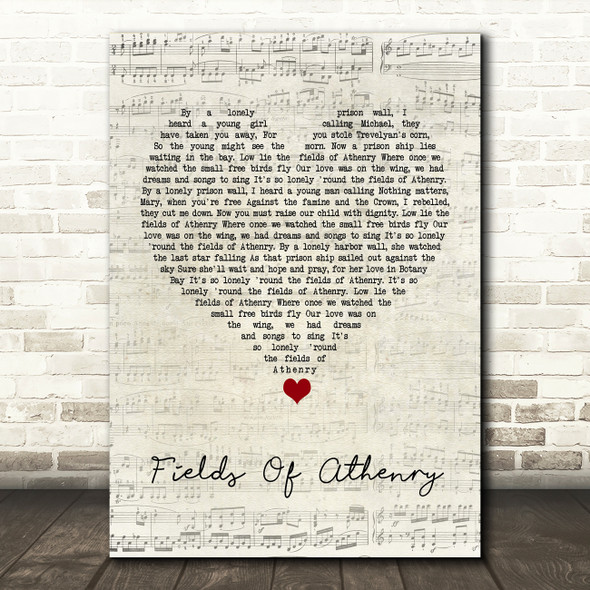 Dropkick Murphys Fields Of Athenry Script Heart Song Lyric Print