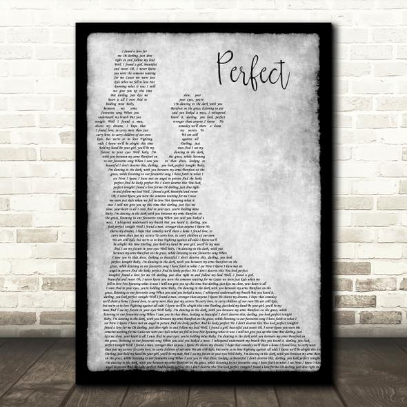Ed Sheeran & Beyonce Perfect Man Lady Dancing Grey Song Lyric Quote Print