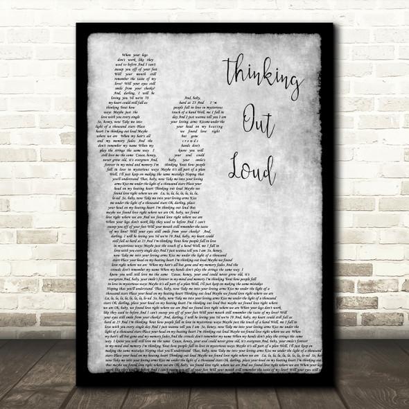 Ed Sheeran Thinking Out Loud Grey Song Lyric Man Lady Dancing Quote Print