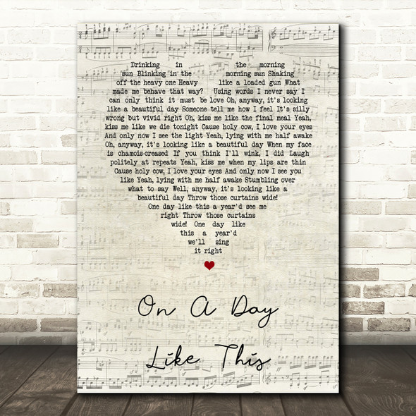 Elbow On A Day Like This Script Heart Song Lyric Print