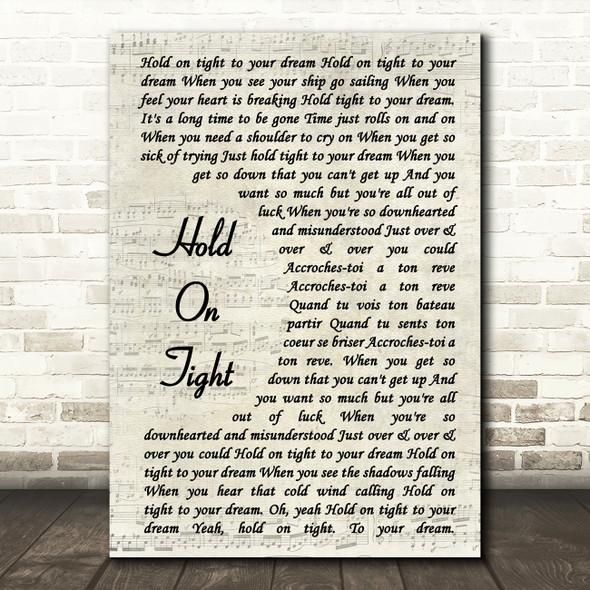 Electric Light Orchestra Hold On Tight Vintage Script Song Lyric Print
