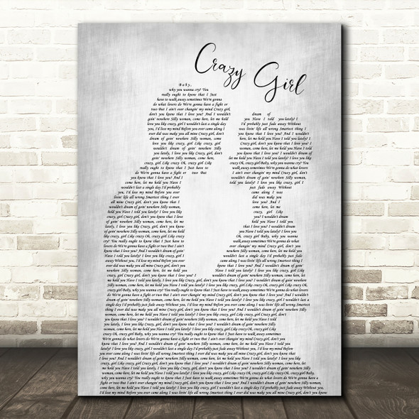 Eli Young Band Crazy Girl Grey Song Lyric Man Lady Bride Groom Wedding Print
