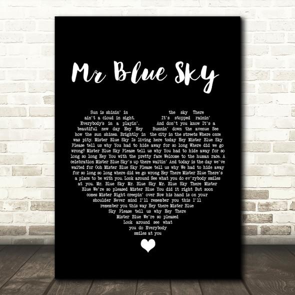 ELO Mr Blue Sky Black Heart Song Lyric Print