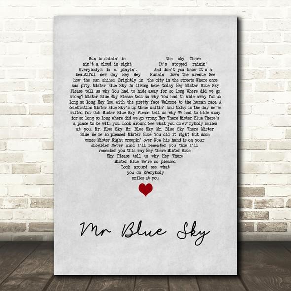 ELO Mr Blue Sky Grey Heart Song Lyric Print