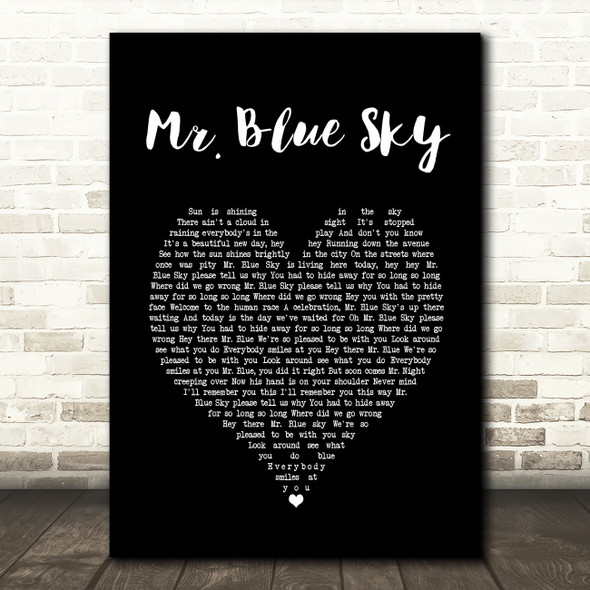 ELO Mr. Blue Sky Black Heart Song Lyric Print