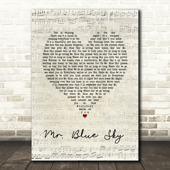ELO Mr. Blue Sky Script Heart Song Lyric Print