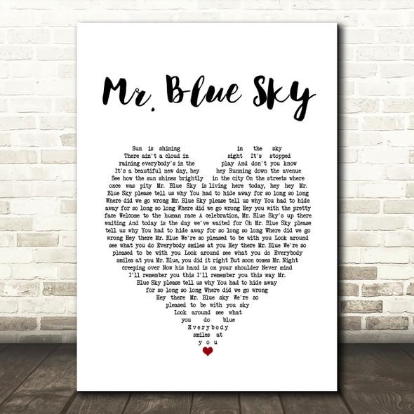ELO Mr. Blue Sky White Heart Song Lyric Print