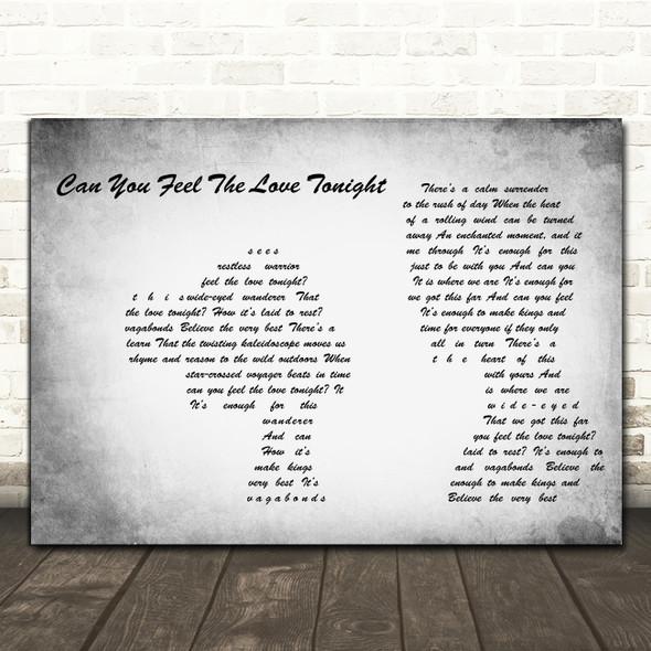 Elton John Can You Feel The Love Tonight Grey Man Lady Couple Song Lyric Print