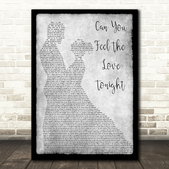 Elton John Can You Feel The Love Tonight Grey Man Lady Dancing Song Lyric Print