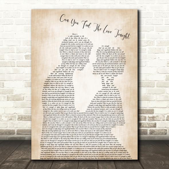 Elton John Can You Feel The Love Tonight Man Lady Bride Groom Wedding Song Print