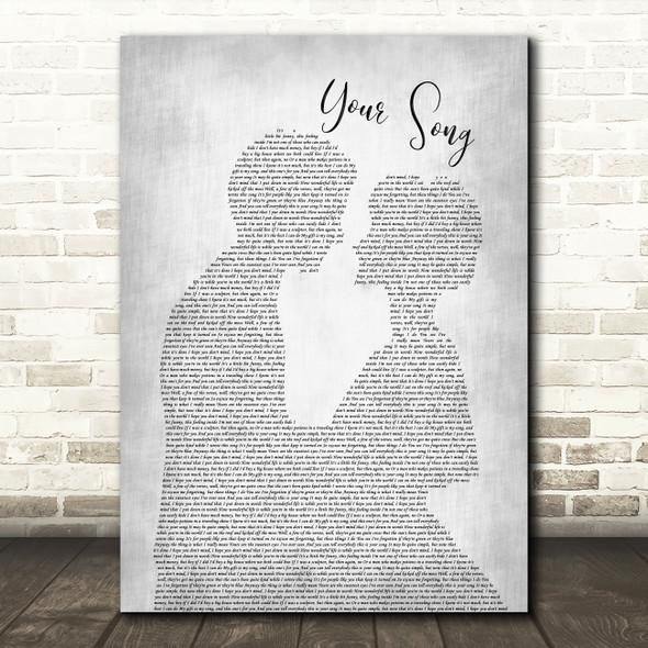 Elton John Your Grey Song Man Lady Bride Groom Wedding Grey Song Lyric Print