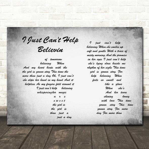 Elvis Presley I Just Can't Help Believin Man Lady Couple Grey Song Lyric Print